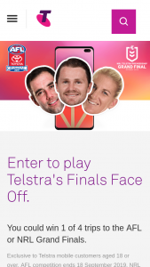 Telstra's Finals Face Off – Win 1 of 4 Trips to The AFL Or Nrl Grand Finals