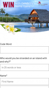 Channel Ten-Celebrity Name Game – Win a Trip to Fiji