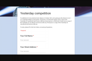 Video Ezy – Win 1 of 3 Yesterday Watch & Listen Packs (prize valued at $300)