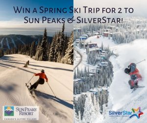 Blue Powder Travel – Win a Spring Ski prize package for 2 to Sun Peaks and SilverStar