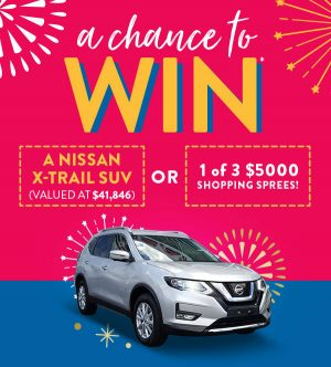 Domayne – 20th birthday – Win a major prize of a Nissan X-Trail SUV OR 1 of 3 minor prizes of a $5,000 shopping spree each
