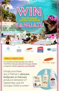 Palmer's Australia – Win a 7-night stay in Vanuatu PLUS flights for 2, spending money, voucher and more