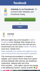 Adelady – Win Two Nights Stay at The Beautiful Cladich Pavilions In The Adelaide Hills