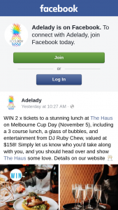 Adelady – Win 2 X Tickets to a Stunning Lunch at The Haus Restaurant on Melbourne Cup (november 5) Including a 3 Course Lunch (prize valued at $158)