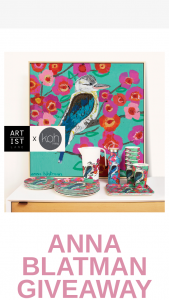 Artist Lane – Koh Living – Win an Anna Blatman Homeware Package (prize valued at $936.9)