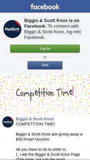 Biggin & Scott Knox – a $50 Kmart Voucher (prize valued at $50)