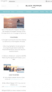 Black Pepper Womens Clothing – Win an Eight (8) Night Princess Cruises Tasmania Cruise (prize valued at $3,938)