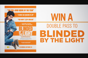 Channel 7 – Sunrise – Win a Double Pass to New Film Blinded By The Light In this Week's Sunrise Family Newsletter (prize valued at $400)