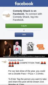 Comedy Shack – Win a Double Pass Pizza  2 Drinks