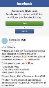 Cotton and Style – Win One of 2 $50 Gift Card to Celebrate Our 3000 Instagram Followers and 3500 Facebook Followers Also Have 20% Off Storewide for 48 Hours
