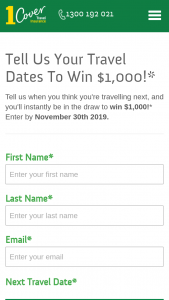 1Cover Travel Insurance – Win $1000 Enter By November 30th 2019. (prize valued at $1,000)
