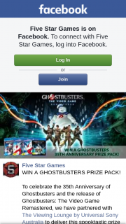 Five Star Games – Win a GhosTBusters Prize Pack