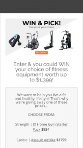 Gym and Fitness – One of These Prizes.. (prize valued at $1,799)
