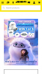 JB HiFi Pre-order Abominable for chance to – Win 1 of 5 Abominable Merchandise Packs (prize valued at $300)