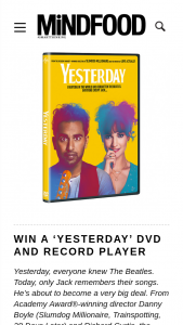 Mindfood – a Limited Edition Yesterday Record Player and a Copy of Yesterday on DVD (prize valued at $274.95)