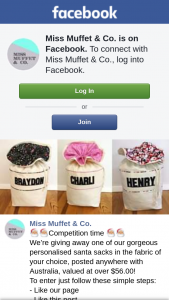 Miss Muffet & Co – One of Our Gorgeous Personalised Santa Sacks In The Fabric of Your Choice (prize valued at $56)