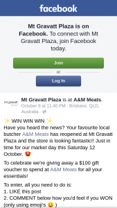 Mt Gravatt Plaza – a $100 Gift Voucher to Spend at A&m Meats for All Your Essentials