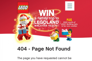 """Myer – Win a Trip for Two (2) Adults and Two (2) Children (12 Years Or Under) to Legoland Malaysia Valued at Up to Au$15000 Depending on Date and Point of Departure (""""major Prize""""). (prize valued at $18,000)"""