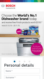 Purchase a Bosch dishwasher – Win $10000 1. (prize valued at $10,000)