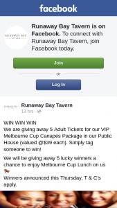 Runaway Bay Tavern – 5 Adult Tickets for Our VIP Melbourne Cup Canapés Package In Our Public House (valued @$39 Each).