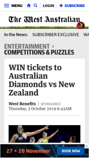 The West Australian – Tickets to Australian Diamonds Vs New Zealand