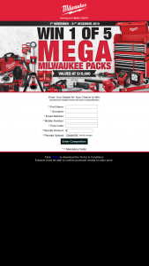 AIS – Win 1 of 5 Milwaukee Mega Packs Worth $10k Each (prize valued at $50,000)