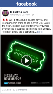 BLucky & Sons – Win 1 of 5 Double Passes for You and Your Partner In Crime to See Knives Out