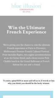 Blue Illusion – Win The Ultimate French Experience at Paris to Provence (prize valued at $2,500)