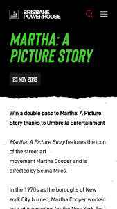 Brisbane Powerhouse – Win a Double Pass to See Martha a Picture Story