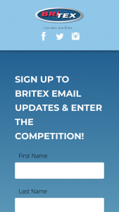 Britex – Win a $1500 Christmas Shopping Spree (prize valued at $1,500)