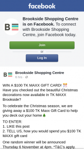 Brookside Shopping Centre – a $100 Tk Maxx Gift Card to Help You Deck Out Your Home (prize valued at $100)