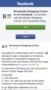 Brookside Shopping Centre – Win a $100 Target Gift Card