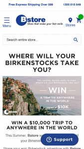 BStore-Birkenstocks – Win a Trip Anywhere In The World (prize valued at $10,000)