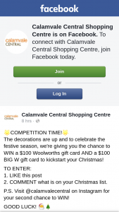 Calamvale Central – Win a $100 Woolworths Gift Card and a $100 Big W Gift Card to Kickstart Your Christmas