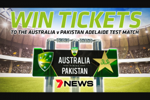 Channel 7 Adelaide News – Tickets to The Adelaide Cricket Test Match at Adelaide Oval on November 29th 2019. (prize valued at $3,000)