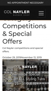 Col Nayler Barber Shops [Brisbane] – American Crew buy an eligible AC product Enter to – Win a Limited Edition Tag Heuer Watch (prize valued at $7,000)