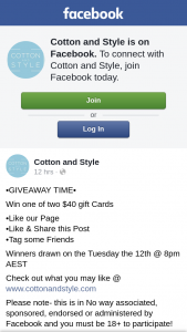Cotton and Style – Win One of Two $40 Gift Cards