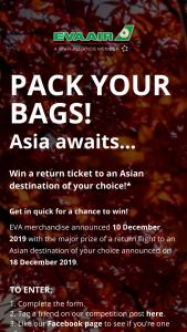 Eva Air – Win a Return Ticket to an Asian Destination of Your Choice
