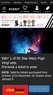 Event Cinemas Cinebuzz – Win this Prize (prize valued at $94.95 AUD)