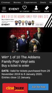 Event Cinemas – Win One of Ten Addams Family Pop Vinyls Sets Purchase Ticket to See Film (prize valued at $113.94 AUD)
