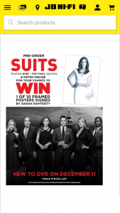 JB Hi Fi Pre-order Suits Season Nine – Win 1 of 10 Framed Posters Signed By Sarah Rafferty (prize valued at $1,500)