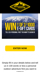 Mountain Designs – Win 1 of 3 E Gift Card Valued at $1000 (prize valued at $1,000)