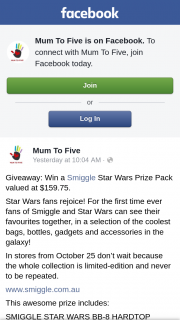 Mum to Five – Win a Smiggle Star Wars Prize Pack Valued at $159.75. (prize valued at $159.75)