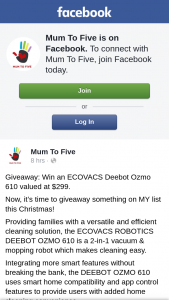 Mum to Five – Win an Ecovacs Deebot Ozmo 610 Valued at $299. (prize valued at $299)