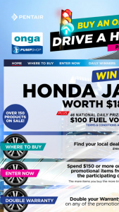 "Onga Pumps – Win a Honda"" (prize valued at $18,990)"