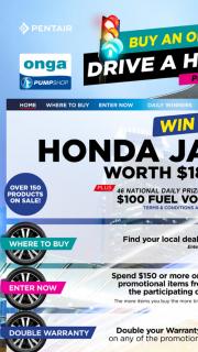 """Onga Pumps – Win a Honda"""" (prize valued at $18,990)"""