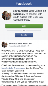 South Aussie With Cosi – Win a Double Pass to Under The Stars Twilight Concert at Morphetville Racecourse on Saturday December 14???