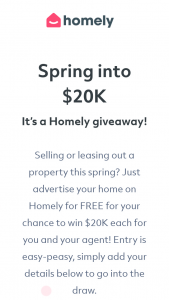 Spring into $20K It's a Homely giveaway – Competition (prize valued at $40,000)