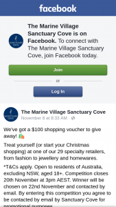 The Marine Village Sanctuary Cove – Win a $100 Shopping Voucher (prize valued at $100)
