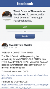 "Tivoli Drive-in theatre SEQld – Win 3 ""free Car Entry Plus Free Family Meal Deal"" Vouchers"